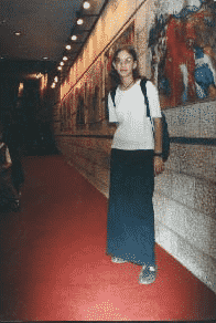 Attending her mother's art exhibition in the Jerusalem Theatre, 2001